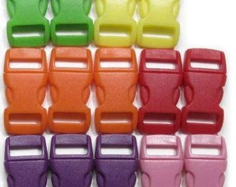 """50 Safety Breakaway Pull-Apart Buckles, 3/8"""" (10mm) Six Colors to Choose From. Contoured, Side-Release, Plastic. Perfect for Cat Collars."""