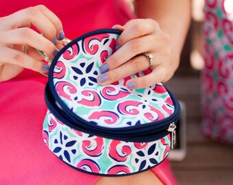 FREE monogramming - Personalized Monogrammed Embroidered MIA TILE Round Jewlery Case with inside pockets - navy mint hot pink