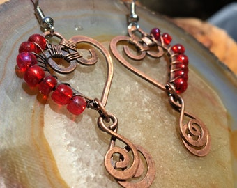 Heart Double Spiral Copper Wire Wrap  & Red Glass Beads Earrings  surgical Steel hooks