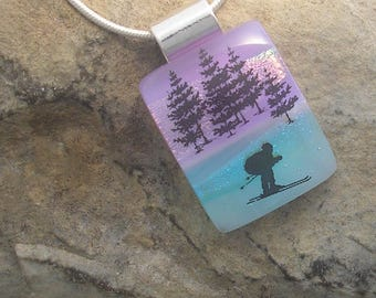 Downhill Skier Necklace Dichroic Fused Glass Skiing Pendant