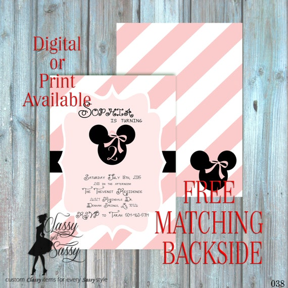 Pink Birthday Party Inviation, minnie Birthday Party, Pink Glitter Party Invitation, DIY Print Party Inviation, first Birthday invite 038