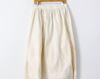 antique petticoat, cream cotton eyelet skirt