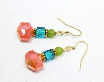 Crystal Dangle Earrings, Tropical Colors, Multicolored Earrings, Orange Aqua Green, Spring Fashion