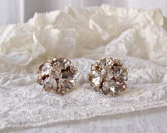 Vintage RhinestoneScrew Back Earrings Hollywood Glam Designer Earrings Rhinestone Costume Jewelry Retro Earrings 1950s