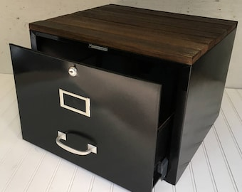Vintage Steelmaster File Drawer with Rustic Wood Top - Upcycled