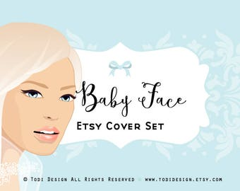 Baby Face  - Premade Etsy Shop Banner set - homemade Aromatherapy, Soap, Bath,Mineral Cosmetic Boutiques