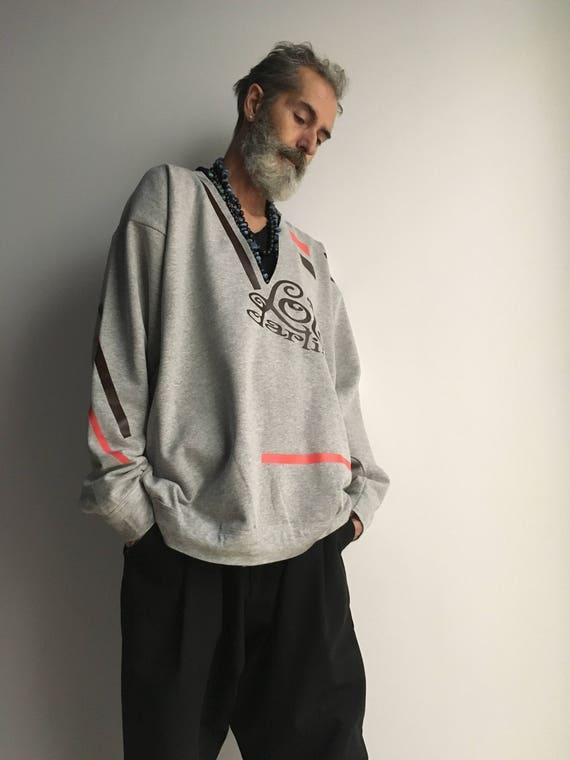 Man Gray Sweatshirt LOLA DARLING Fleece inside Logo and Stripes Printed Customized Unisex Handmade in Italy Limited Edition