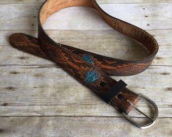 Vintage Leather Belt - Tooled Belt - Brown and Teal