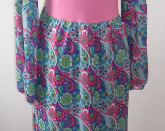 1970s Funky Psychedelic Vintage Maxi Dress