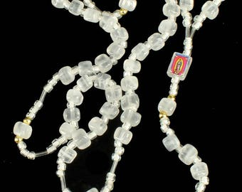 Vintage Mexico White Quartz Rosary with Stanhope Sacred Heart of Jesus 19""