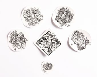 STICKERS set Inside- heart, brain, uterus and thoracic anatomic chest with roses