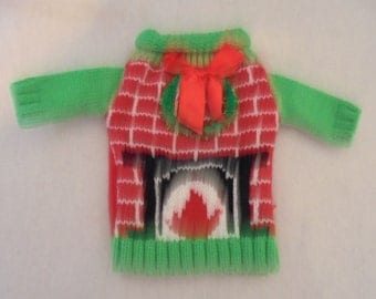 Fireplace w/Bow Ugly Sweater Wine Bottle Cover - Great Christmas Present