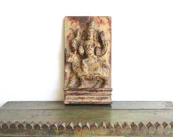 Wall Panel Carved Relief Hindu God with Cow Design Temple Cart