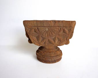 Indian Seeder Antique Wooden Sowing Tool Ethnic Artifact Wooden Pillar Candlestand E8