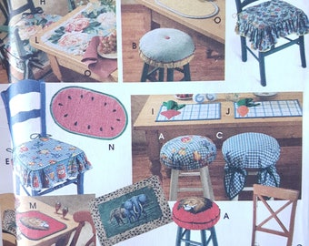Sewing Pattern For Stool Covers Chair Cushions Placemats And Napkins Dining Room Or Kitchen Decor Simplicity