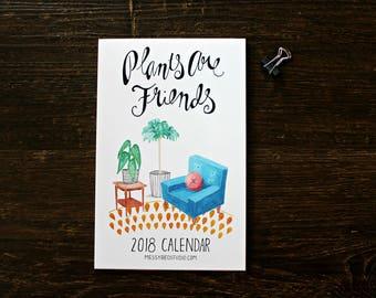 2018 Calendar, 2018 Wall Calendar Plants are friends, Cute calendar, Watercolor calendar 2018, Botanical calendar, Houseplants gift ideas
