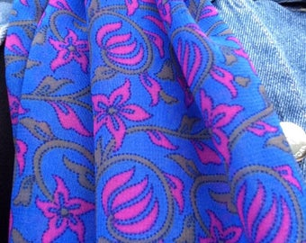 Vintage Sapphire and Fuchsia Floral Scarf