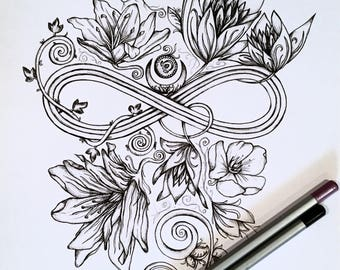 Adult Kids Coloring Page Infinity Moon Original Nature Art Woodland Crescent