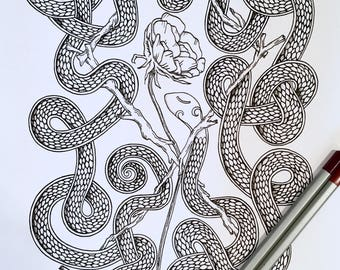 Adult Coloring Page Snake Othala Rune Original Nature Art Viking Old Norse