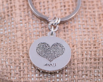 Circle / Heart FingerPrint Silver Key Chain