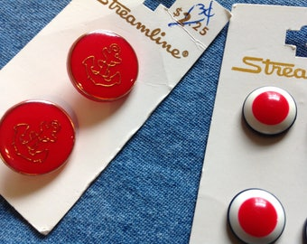 Vintage Buttons, Red Buttons, Red White Blue Buttons,  Anchor Buttons, Red Shank Buttons, 70's Buttons