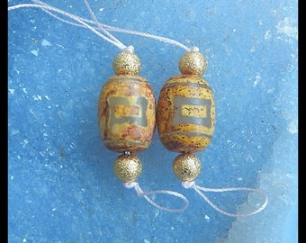 New,Dzi Bead With Copper Beads Gemstone Earring Bead,16x12mm,6x6mm,8.5g