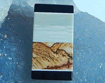 New,Picture Jasper,Wave Jasper,Obsidian Intarsia Cabochon,38x20x5mm,10.5g(C067)