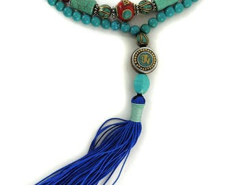 Tibetan Necklace Turquoise Mala Carnelian Prayer Beads 43 Inch 118139