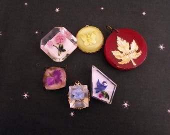 Vintage Reverse Carved Lucite Pendant Lot, 6 pieces Rare Reverse Carved Painted Lucite Flower Pendants to Recycle for Floral Jewelry