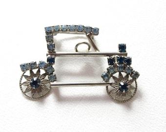 Rhinestone Car Pin Brooch Vintage Blue Rhinestones Jewelry Gift