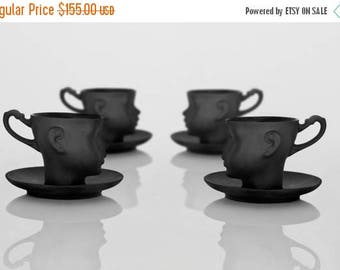 SALE Set of four porcelain doll head cups in black with saucers- whimsical set of black ceramic artisan mugs, for coffee or tea