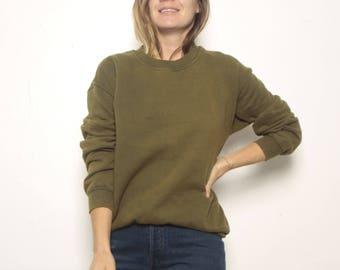 classic 90s color block OLIVE green GRUNGE sweatshirt