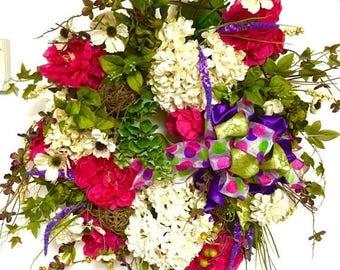 SPRING CLEARANCE SALE Silk Floral Wreath Pink Peony Hydrangea Garden Variety Xxl 27x36 Freeship