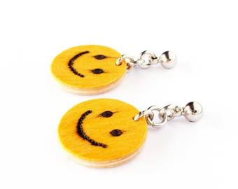 Emoji earrings, Smiley earrings, Smiley face earring, Emoticon earring, Funny dangle earrings, Cute earrings, Funny jewelry, Funny gift