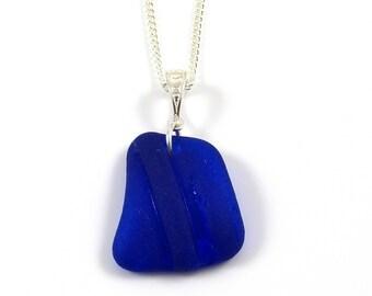 Rare Cobalt Blue English Sea Glass Necklace - PASCALE