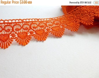 ilovesales Wide Crochet Lace trim in Orange- 1 yard