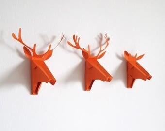 set of 3 faux Deer head, Faux Taxidermy , greeting card, orange, Deer Mini Faux Taxidermy
