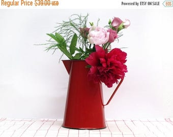 Vintage French red Enamelware water pitcher, red enamel vase