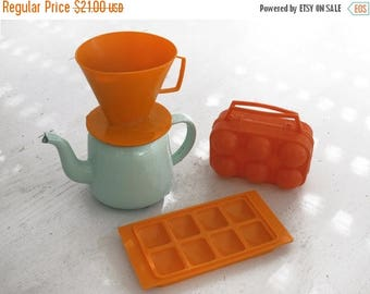 Vintage kitchen retro Orange collection ,Coffee dripper , Drip O Lator ,  egg Carrier Egg Basket Egg Crate Egg Holder, Ice cube mold