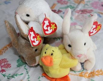 Beanie Babies, Beanie Baby, Teeny Beanie, Duck, Bunny, Sheep, Lamb, Party Favor