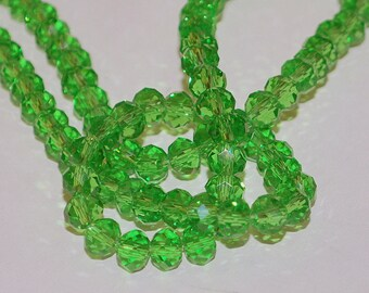 23 pcs 6x4mm Transparent Green Rondelle Glass Beads TG-3