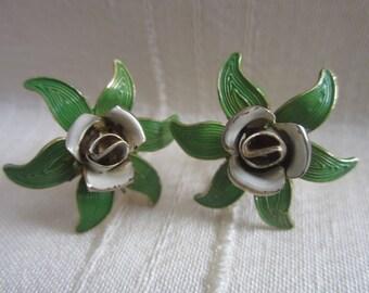 Vintage Enamel Flower Earrings Screw Back Green White