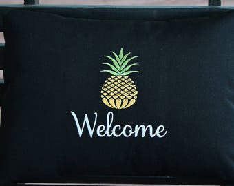 Indoor Outdoor Pillow Cover in Black with Yellow Pineapple and Welcome or Name or Address | Personalized | Housewarming | Wedding | Gift