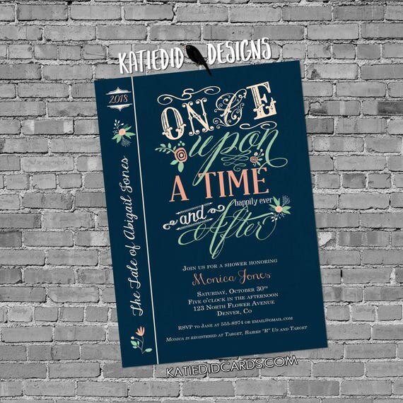 storybook once upon a time mint coral floral chic surprise gender baby shower invitation invite bring a book theme 1379d Katiedid Designs