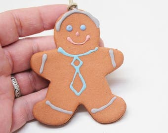 Gingerbread Man, Holiday Ornament, Handmade Pottery Ornament