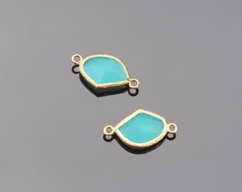 Jewelry Supplies,  Gold Horizontal Glass Pendant Mint Connector, Plated Light Blue Stone Connector, Framed Glass Connector, 2 pc