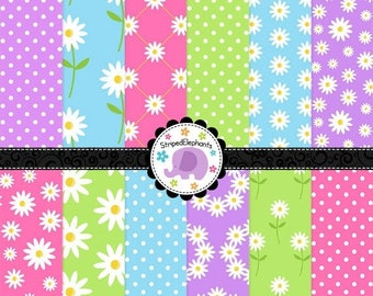 40% OFF SALE Daisies Digital Paper Pack, Digital Scrapbook Paper, spring digital paper, flowers digital paper, Commercial Use