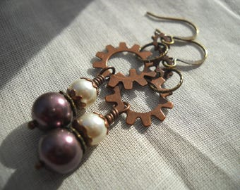 Steampunk earrings: A Measure of the Sun | Steampunk gear earrings | Steampunk jewelry | Gear earrings | Copper earrings | Brass | Purple
