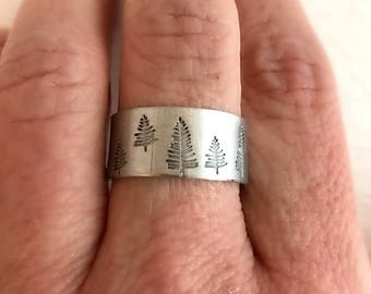 Hand Stamped Pine Tree Ring, sterling silver or aluminum,  adjustable band, hiking jewelry, climbing gift, gift for her, unisex ring