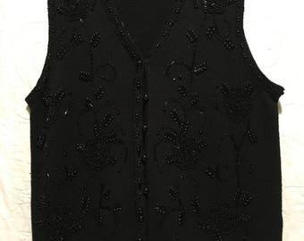 Vintage Jet Beaded Black Sweater Vest   LG   Cotton Blend  by  Yarnwork's